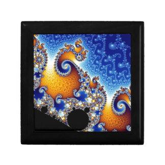 Fractal espiral doble azul de Mandelbrot Cajas De Joyas