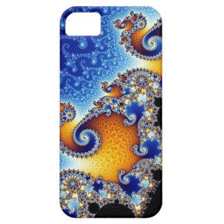 Fractal espiral doble azul de Mandelbrot iPhone 5 Cárcasas