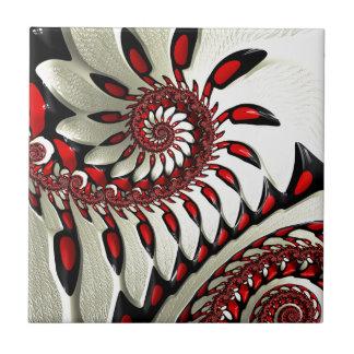 Fractal espiral rojo y negro azulejo cuadrado pequeño