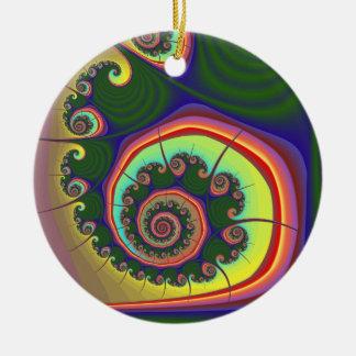 Fractal espiral verde de la joya ornamentos de navidad