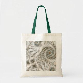 Fractal espiral verde en colores pastel de la bolsa tela barata