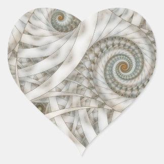 Fractal espiral verde en colores pastel de la pegatina en forma de corazón