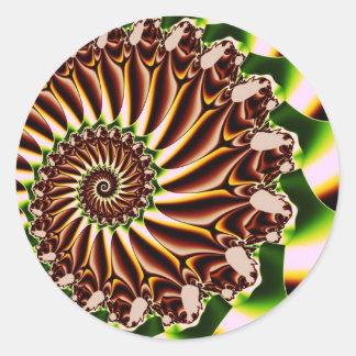Fractal espiral verde y amarillo de Shell Pegatina Redonda