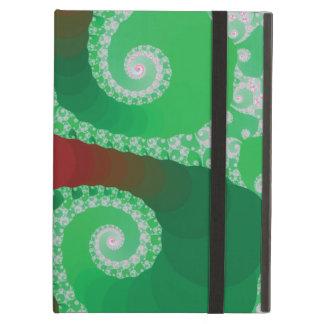 Fractal espiral verde y blanco rojo