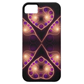 Fractal estéreo del corazón del oro del amor iPhone 5 carcasas