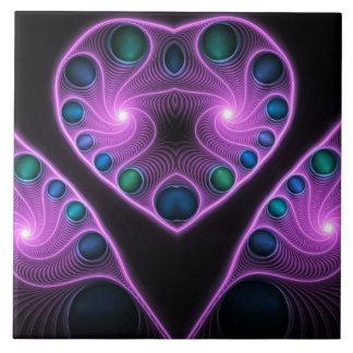 Fractal estéreo rosado del corazón del amor azulejo cuadrado grande