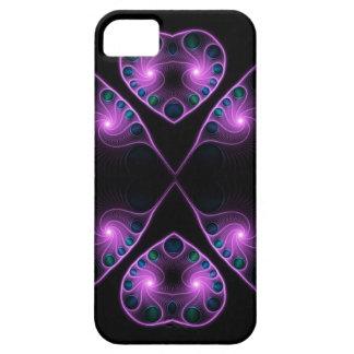 Fractal estéreo rosado del corazón del amor iPhone 5 carcasas