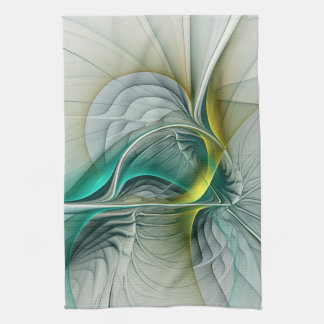 Fractal Evolution, Golden Turquoise Abstract Art Hand Towels