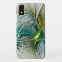 Fractal Evolution, Golden Turquoise Abstract Art iPhone XR Case