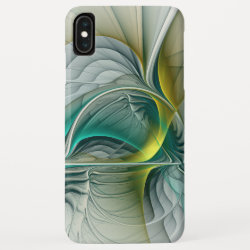 Fractal Evolution, Golden Turquoise Abstract Art iPhone XS Max Case