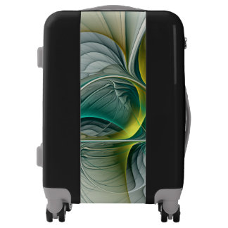 Fractal Evolution, Golden Turquoise Abstract Art Luggage
