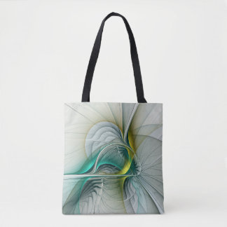 Fractal Evolution, Golden Turquoise Abstract Art Tote Bag