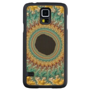 Fractal Eye Rabbit Hole Gold Teal Beautiful Art Carved® Maple Galaxy S5 Slim Case
