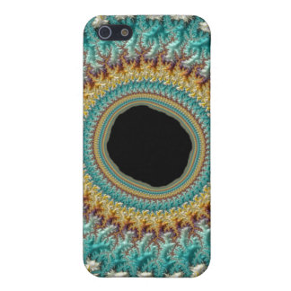 Fractal Eye Rabbit Hole Gold Teal Beautiful Art iPhone SE/5/5s Case