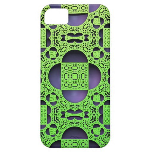 Fractal Filigree - Green/Purple iPhone 5 Cases