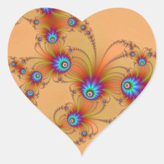 Fractal Fireworks Heart Sticker