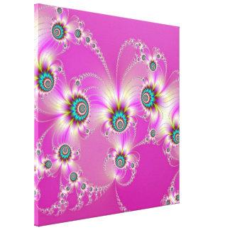 Fractal Fireworks on Pink Canvas Print