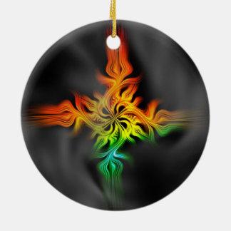 Fractal Flame Ceramic Ornament