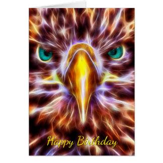 Fractal Flame Eagle Birthday Greeting Card