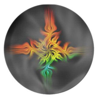 Fractal Flame Melamine Plate