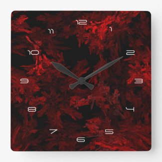 Fractal Flame: Red Coral Square Wall Clock