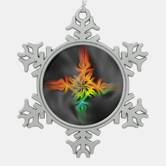 Fractal Flame Snowflake Pewter Christmas Ornament