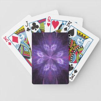 Fractal floral púrpura barajas de cartas
