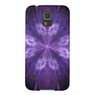 Fractal floral púrpura funda para galaxy s5