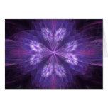 Fractal floral púrpura tarjeta de felicitación