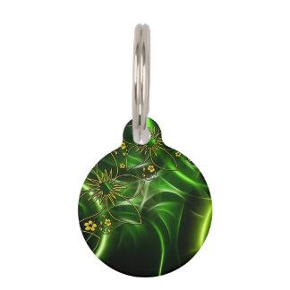 Fractal floral verde de neón placas para mascotas