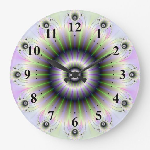 Fractal Floral Wall Clock w Numbers