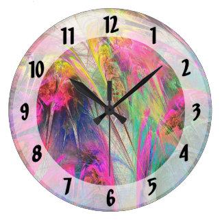 Fractal - flores tropicales reloj redondo grande