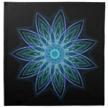 Fractal Flower Blue - geometric abstract floral Printed Napkins