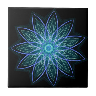 Fractal Flower Blue - geometric abstract floral Tiles