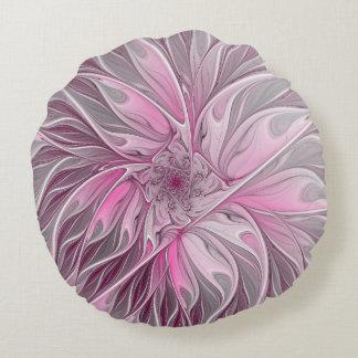 Fractal Flower Dream, floral Fantasy Pattern Round Pillow