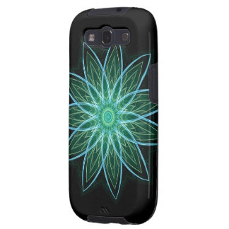 Fractal Flower Green - Floral Mandala Star Samsung Galaxy S3 Cases