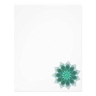 Fractal Flower-Green-geometric floral fractal art Letterhead