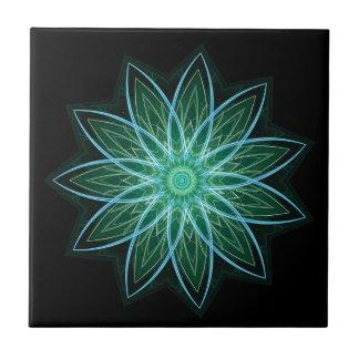 Fractal Flower-Green-geometric floral fractal art Tiles