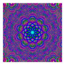 Fractal Flower Mandala Poster