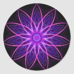 Fractal Flower Purple -geometric floral fractal Round Stickers