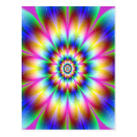 Fractal Flower rainbow Explosion Postcards