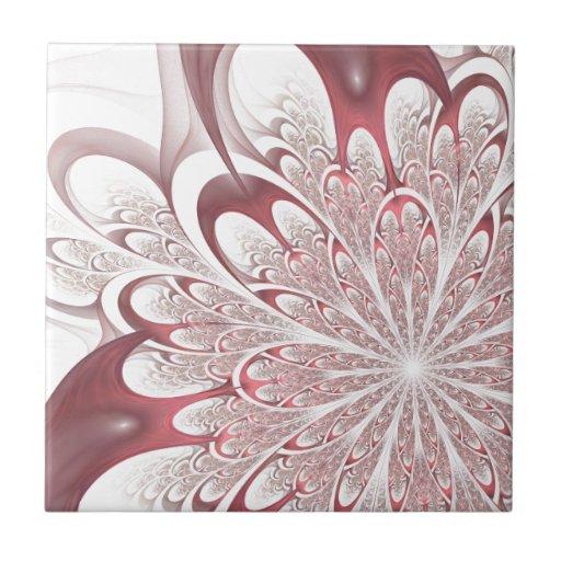 Fractal Flower Small Square Tile