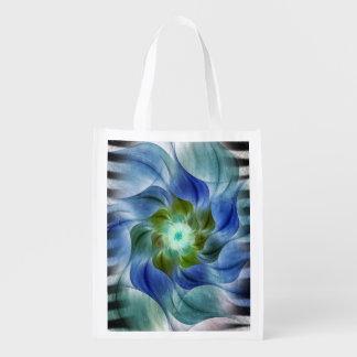 Fractal Flower with Zebra Stripes Reusable Grocery Bag