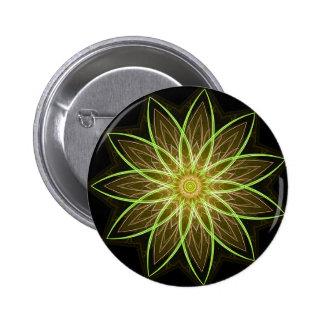 Fractal Flower-Yellow / Earthtones -geometric art 2 Inch Round Button