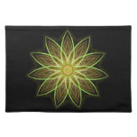 Fractal Flower-Yellow / Earthtones -geometric art Cloth Placemat
