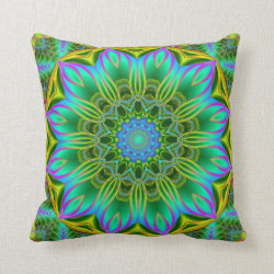 Fractal Flowers Kaleidoscope Design No 1 Throw Pillow