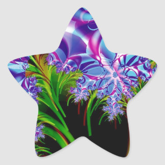 Fractal flowers star stickers