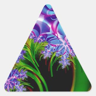 Fractal flowers triangle sticker