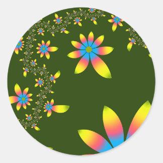 fractal frecuencia intermedia 124 pegatina redonda