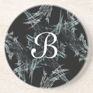 Fractal Frost Series-1---B&W coaster--1 of  colors Drink Coaster